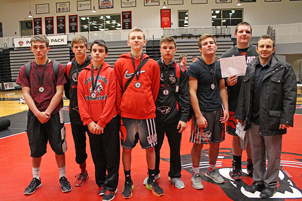 From left to right: Nate Patin, 6th Place; Jordan Andrus, 5th Place; Logan Hull, 6th Place; Jordan Ringler, 2nd Place; Lucus Pienton, 3rd Place; Ryan Ringler, 3rd Place; Patrick Depiazza, Champion and Coach Nick Emery.