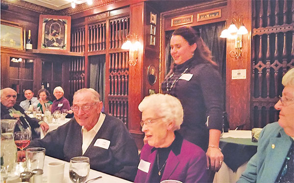 Jack and Marge Clark were recently honored at a Rotary meeting. Standing behind them is Rotary president Amanda Gerhardt.