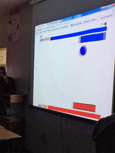 """Pong"" game in progress, which was coded by high school students in their Physics class."