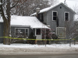 This empty house at 157 N. Main caught fire Wednesday, January 13. Post photo by J. Reed.