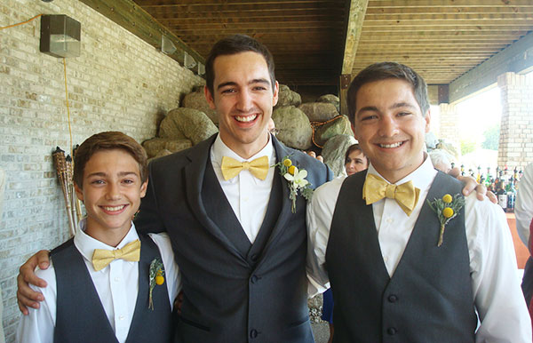"""""""This picture shows my sons Ben, Sam, and Jesse from left to right. Ben and Jesse both needed blood as kids.Even though I was a fairly regular donor, they are both alive, in part, because of blood donations. That makes giving blood on a regular basis now a no-brainer to me.""""—Gregg Franjione, longtime blood donor."""