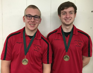 Two Red Hawk bowlers received medals at the Jenison invitational. Dugan Conely (L) and Trevor Ruark (R).