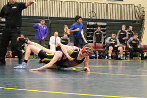 Red Hawk Jordan Andrus (130 lbs) was one of several Cedar Springs wrestlers that went undefeated last Wednesday. Photo by B. Chong.