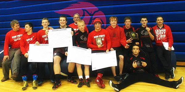 The Cedar Springs varsity wrestling team took second place at the Sparta Invitational. Photo by B. Chong.