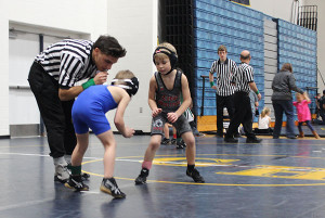 Troupe facing off against his opponent in the 46lb 09-11 All class.Photo courtesy of J. Troupe.