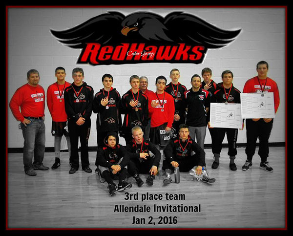 The Red Hawk wrestlers took third at the Allendale Falcon Invite. Photo by Jane Ringler.