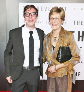 "Joshua Burge and his mother, Kim (Burge) Stout at the red carpet premiere of ""The Revenant."""