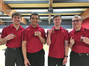 All conference boys bowlers include (L to R) Blake Fisk, Jacob Cartwright, Trevor Ruark and Dugan Conely.