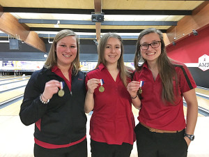 Cutline: All conference girls bowlers include (L to R) Emma Schut, Breanna Feikema, and Allyson Marvel.