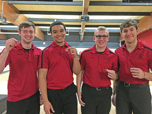 Top 10 boys bowlers for the day included (L to R) Trevor Ruark, Jacob Cartwright, Dugan Conely, and Blake Fisk.