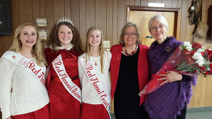 Donna Clark (far right) with the 2015 Red Flannel Queen and Court and Red Flannel Festival President Michele Tracy after announcing Donna would be Grand Marshal of the 2016 Festival.