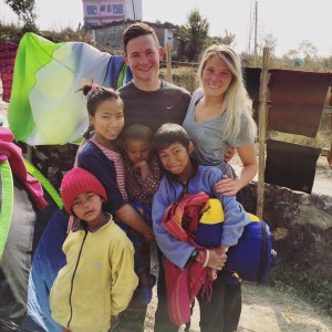 James and Shelby Putnam with children in Nepal.