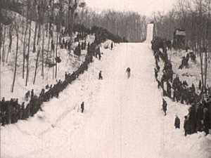 "A scene from Suicide Hill ski jump in Ishpeming from the ""Winter Comes to Michigan"" film. (MDOT photos)"