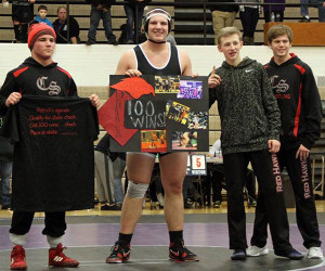 Red Hawk junior Patrick Depiazza got his 100th varsity career win last week. Photo by B. Chong.