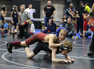 Logan Galinis placed 4th in the 58/61 lb, 6 & under age group at GVSU. Photo by B. Chong.