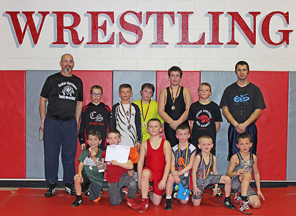 Cedar Springs Youth Wrestling club medal winners.