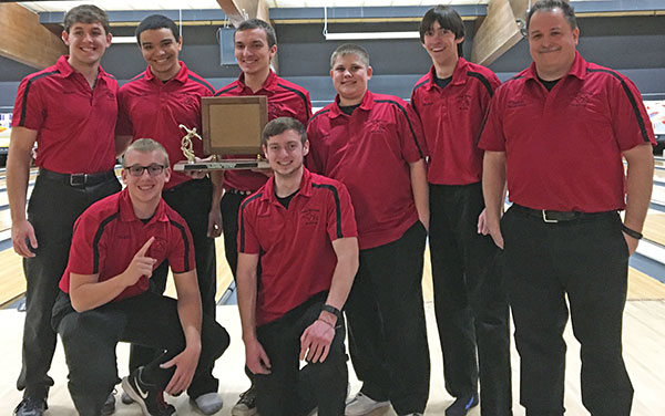 The boys bowling team are conference champs in the OK Bronze. Pictured back row (L to R): Blake Fisk, Jacob Cartwright, Jarod Plank, Jared Caniff, Josh Hamilton and Coach Jackson.