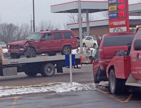 These two vehicles were involved in a traffic crash in front of Arby's on 17 Mile Tuesday. Photo by Autumn Schovey.