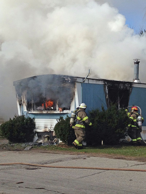 This mobile home in Cedar Springs Mobile Estates was destroyed by fire on Friday, March 25.