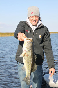 Eric Payne with a large early season bass caught and released