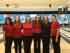 The girls Red Hawk bowling team is going to state for the first time ever. Emma Schut (second from the right) qualified is also going to state as an individual bowler.