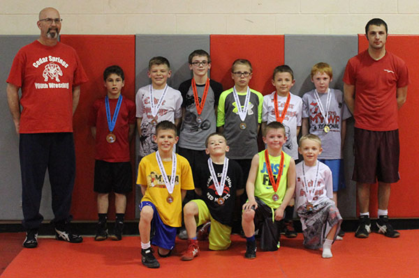 Cedar Springs Youth Wrestlers had a strong showing at regionals, with 15 placing in the top 6. Several will be headed to state in two weeks. Photo by J. Troupe.
