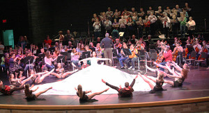 "Members of Montcalm Community College's Alumni & Friends Choir and Philharmonic Orchestra, the Greenville High School Orchestra and Flat River Dance Company rehearse for the April 17 performance of ""Carmina Burana"" at the Greenville High School Performing Arts Center."