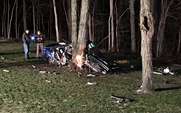 Five teens were riding in this Pontiac Grand Prix when it left the road and hit a tree in Alpine Township on Sunday, April 10. Photo from FOX 17.