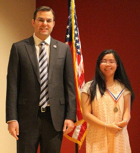 Rep. Justin Amash and Alyssa Bonk, of Algoma Christian School.