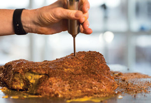 Inject brisket with marinade.