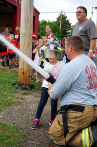 Kids had the chance to spray a fire hose during a visit to the fire department last week.