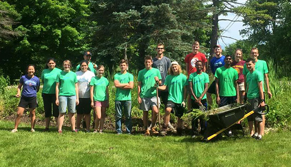 This group of students did some upgrading on the rain gardens at CS Manufacturing last week.