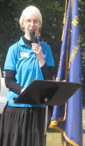 Library Director Donna Clark was one of several speakers at Saturday's event. Photo by J. Reed.