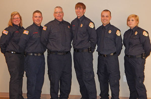 Seven new recruits recently completed the MFFTC FF I & II exam. From L to R: April Zachow, Matt Schievink, Don Cornell, Taylor Hunt, Zachary Grutter, Jessica Ingerson. Not pictured: Brian Stevens.