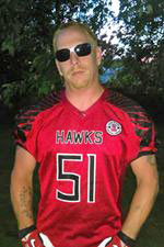 West Michigan Hawks defensive end Rick Loper.