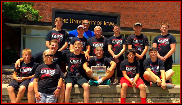 Red Hawk Varsity wrestlers attended a competitin camp in Iowa, and are shown wearing their Wrestling for A Cause shirt, supporting their friend Brison Ricker, a Cedar Springs high school student who is currently battling an inoperable brain tumor.