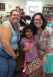 Rabeka Reeves was one of four readers that won backpacks for reading during August.