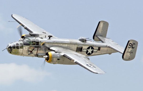Photo from yankeemuseum.org. This B-25D Mitchell, a twin-engine bomber from World War II, will be at the Sparta Airport and available for rides on August 12 and 13 during their annual Build Off and Fly in.