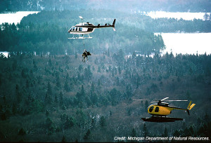 "In an operation known as the ""moose lift"" in the mid-1980s, the DNR translocated 59 moose via helicopter from Ontario, Canada, to Michigan's Upper Peninsula."