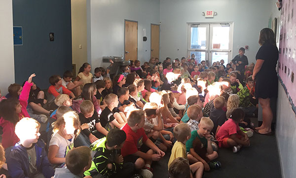 Elementary students gather to kick off the school year.