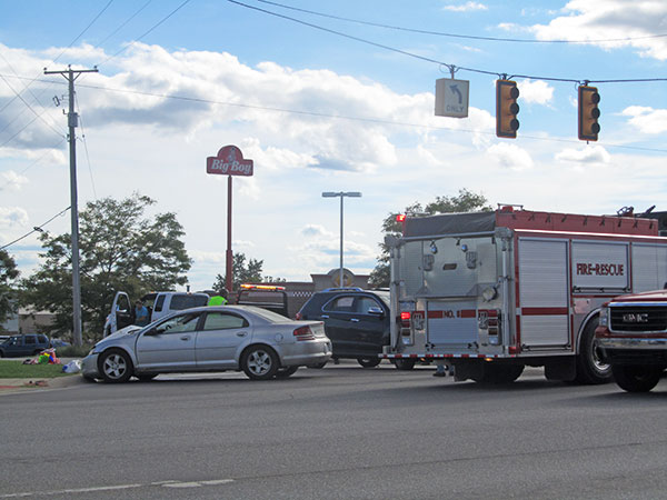 A woman that ran a red light caused a three-car crash at 17 Mile and White Creek on Wednesday, September 14. Post Photo by J. Reed.