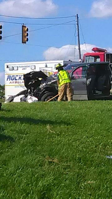 Two trucks crashed after one ran the red light at 17 Mile and White Creek Sunday afternoon. Courtesy photos.