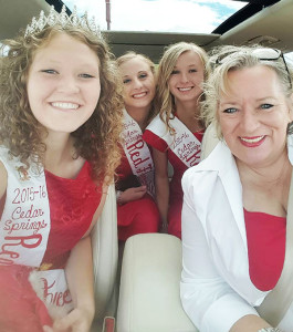 Michele Tracy, President Emeritus of the Red Flannel Festival (front right), with the 2015 Red Flannel Festival Queen Bailey Lachniet (front left), and her court (back row left to right) Jessica Plowman and Megan Zinn. Courtesy photo.