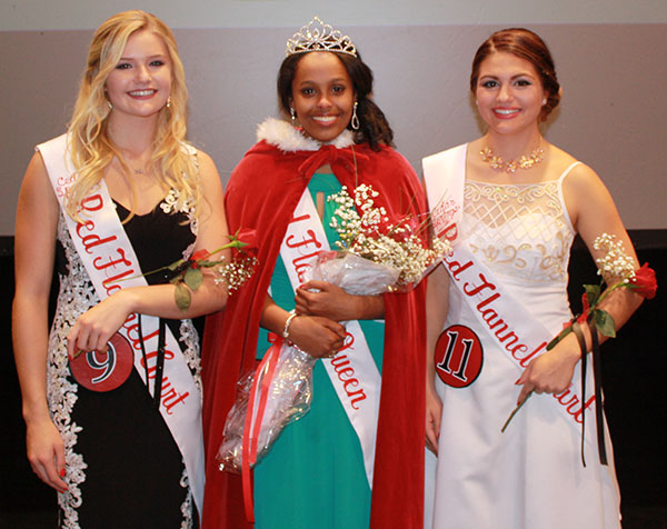The new 2016 Red Flannel Queen is Mumina Ciise (center), and court members are Kaley Louck (left) and Madison Case (right). Photo courtesy of the Red Flannel Festival.