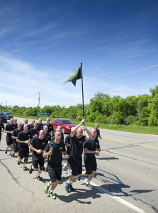 The conservation officer academy recruits ran the first leg of the Law Enforcement Torch Run for Special Olympics Michigan.
