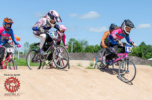 Abbey Salisbury (far right) is BMX state champion in12 Girls and 12 Girls Cruiser classes.