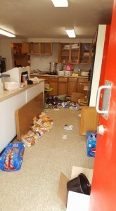 Several items were stolen and the contents of the cupboards and freezer emptied during a break-in at the Skinner Field concession stand last week. Photo courtesy Shawn Kiphart.