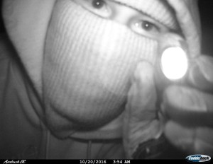 The suspect smeared nacho cheese on the camera lens. Photo courtesy of Kent County Sheriff Dept.