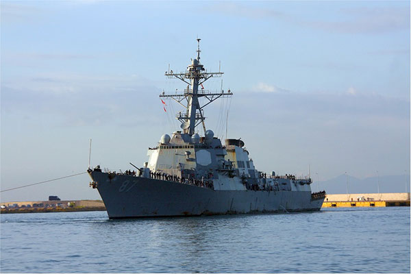 The USS Mason was fired upon with missiles on October 9 and 12, off the coast of Yemen. Here it is shown on the arrival at the port of Piraeus, Greece, on October 23.