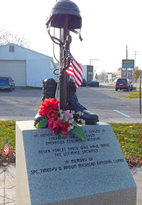 The monument dedicated to SPC. Timothy Brown has been repaired and restored to its rightful place in Veterans Park. Post photo by J. Reed.